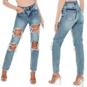 MISSGUIDED Riot High-Rise Rip Mom Jeans